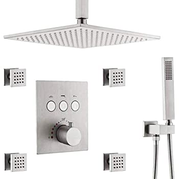 Bst Ner19003dl Shower Body Sprays Systems With Tub Spout 10 Inch Rian Shower Ceiling Mounted All Metal Shower Faucet Set Contain Rougn In Shower Valve Chrome Amazon Com