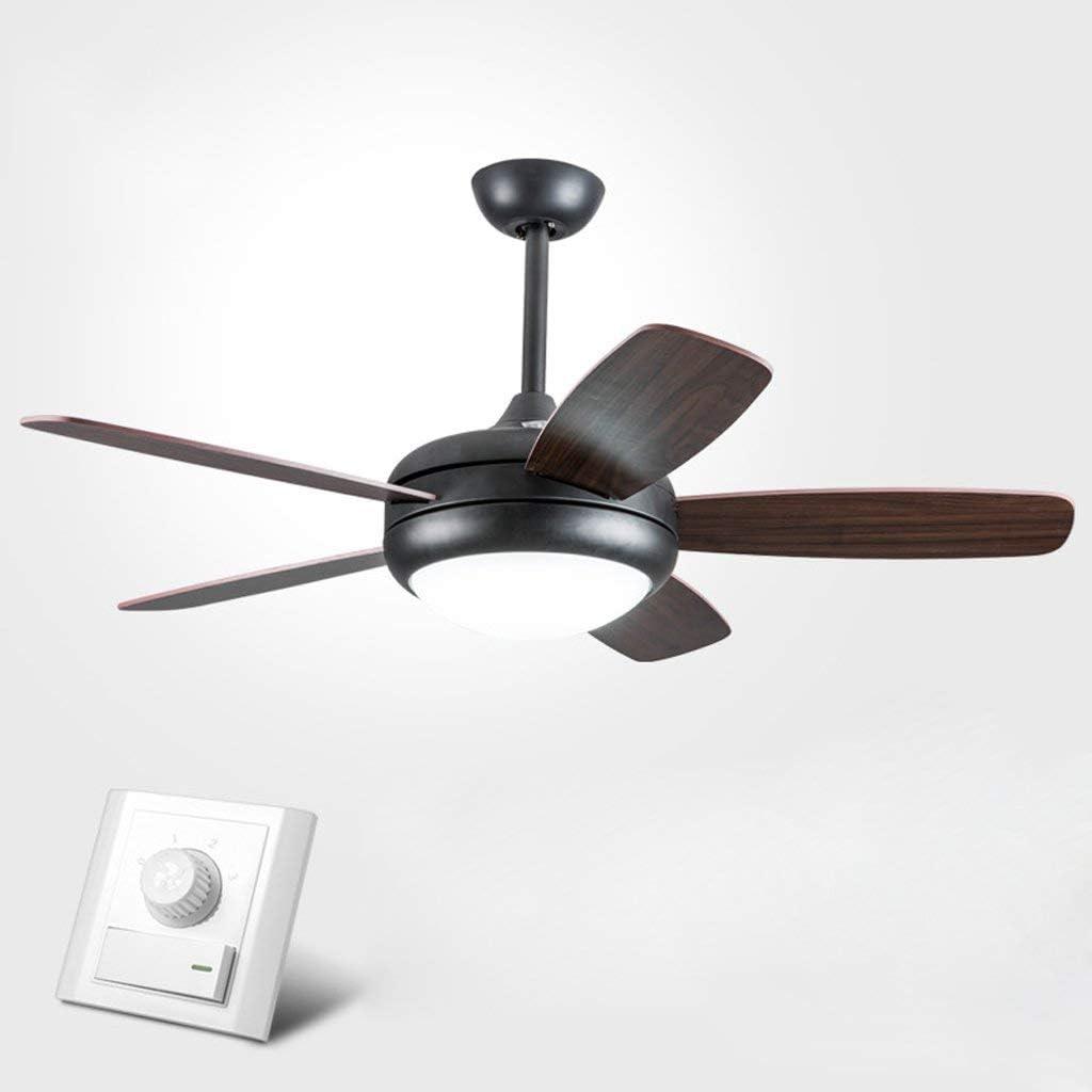 XXLYY Ventilador de Techo para el hogar, Sala de Estar Americana, Ventilador para Restaurante, Hoja de Madera, Control Remoto