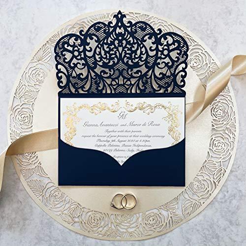 Einladungskarten Hochzeit, Geburtstag Kinder, Hochzeit Einladungskarten set, Taufe, Lasercut Einladungskarten DIY SET Marineblau mit Kuvert Gold Foil Muster - Vorgedrucktes Sample !