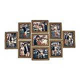 Marco de Pared 9pcs / Set Portarretratos Pared Photo Frame Set 7-Pulgadas Marcos de Fotos Creativo Boda de la Foto de la Serie de la Familia for la Imagen de la decoración (Color : Walnut Color)