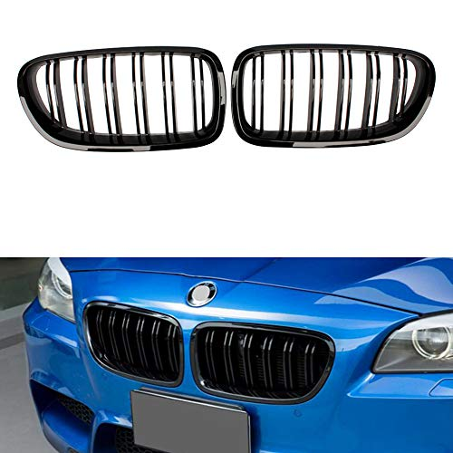 Huichi Front Grille, Kidney Grill Replacement for BMW 5 Series F10 F11 F18 M5 (Gloss Black ABS)