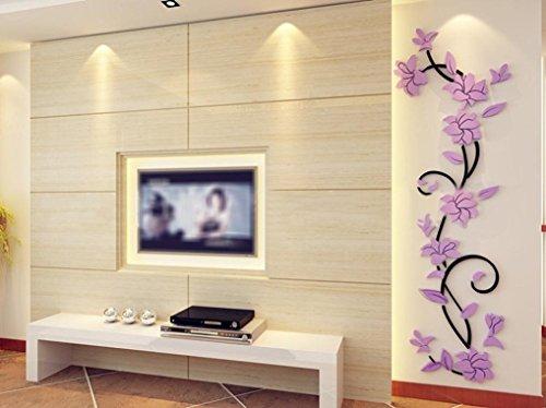 Stickers Mural, HUI.HUI DIY Actif Autocollants Papier Peint Jeu Pouvoir Inspiré 3D Fleur Decoration (Violet)