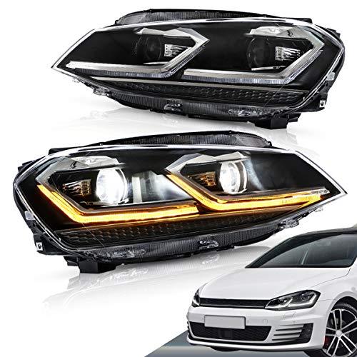 VLAND LED scheinwerfer für Golf 7 MK7 VII 2012-2017 halogen front scheinwerfer mit dynamisch Blinker LHD UK Inventar (silber streifen)