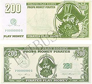 EWIBUSA Prop Money Halloween Pirate Coin 1 Bundle of 200pcsx$200 totaling $40,000 Paper Pirate Money Play Money Size: 4.2x2 in Double-Sided Printing - for Children's Toys Party Favors (200200pcs)