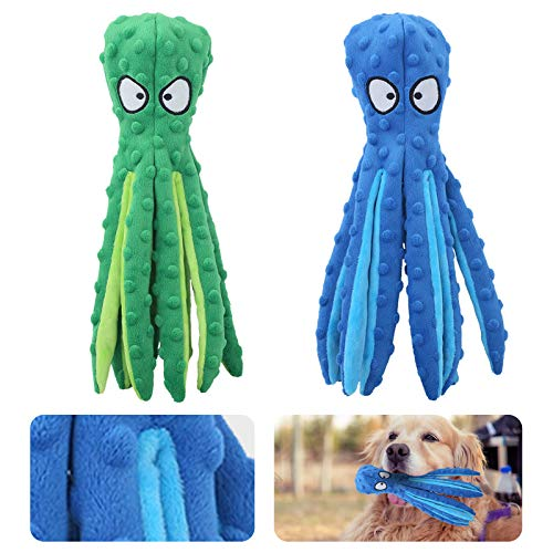 [2 Pack] AircooL Dog Squeaky Toys Octopus,No Stuffing Crinkle Plush Dog Toys for Puppy Teething, Durable Interactive Dog Chew Toys for Small to Medium Dogs Training and Reduce Boredom(Green and Blue)