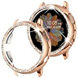 Goton Compatible Samsung Galaxy Watch Active 2 Case Bling 40mm, Women Girl Crystal Diamond Watch Bezel Bumper Protector Shiny Watch Face Case Cover for Samsung Active2 40mm (Rosegold, 40mm)