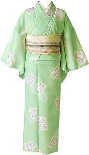 [でぃあじゃぱん] 洗える着物 花 薄緑 黄緑 パステル シック 袷 レディース ポリエステル
