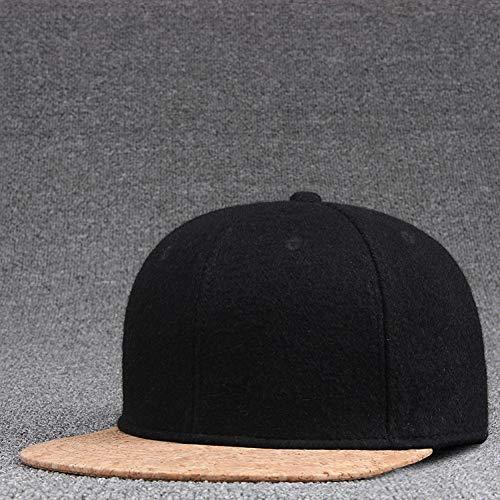 CHENGWJ Baseball cap Wol Vilt Snapback Caps Winter Hip Hop Flat Peaked Cap Effen Skateboard Hoed Mannen Hout Kurk Honkbal Hoeden