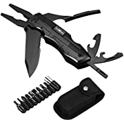 Multitool Knife TUXWANG Multi-Purpose Foldable Knife Multitool Plier, Black Oxide Stainless Steel Multi Tool for Outdoor Survival, Camping, Fishing, Hunting, Hiking, House and Office