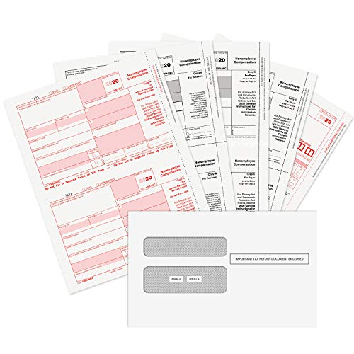 1099 NEC Forms 2020, 4 Part Tax Forms Kit, 25 Vendor Kit of Laser Forms Designed for QuickBooks and Accounting Software, 25 Self Seal Envelopes Included