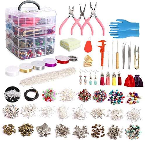 Hiinice Suministros Fabricación De Joyas Pendiente DIY Kit Set con Cuentas Alicates Herramientas para Rebordear Alambre Pendientes De La Pulsera del Collar De 1960pcs Mano