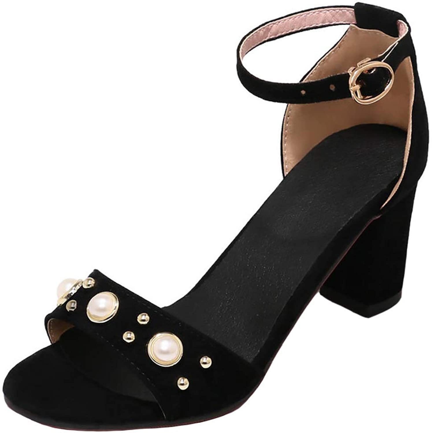 Ghssheh Women's Elegant Beaded Open Toe Buckle Ankle Strap Mid Chunky Heel Pumps Sandals Pink 4.5 M US