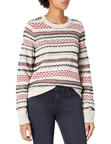 Lucky Brand Women's Crew Neck Striped Fairisle Sweater, Grey Multi, Large