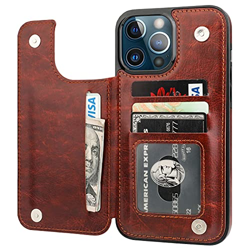 ONETOP Compatible with iPhone 13 Pro Max Wallet Case with Card Holder,PU Leather Kickstand Card Slots Case, Double Magnetic Clasp and...