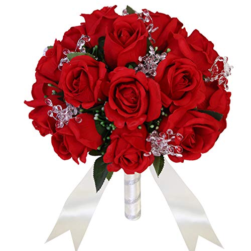 Wedding Bouquet Crystal Silk Roses Bridal Wedding Hand Bouquet Bridesmaid Holding Artificial Fake Flowers
