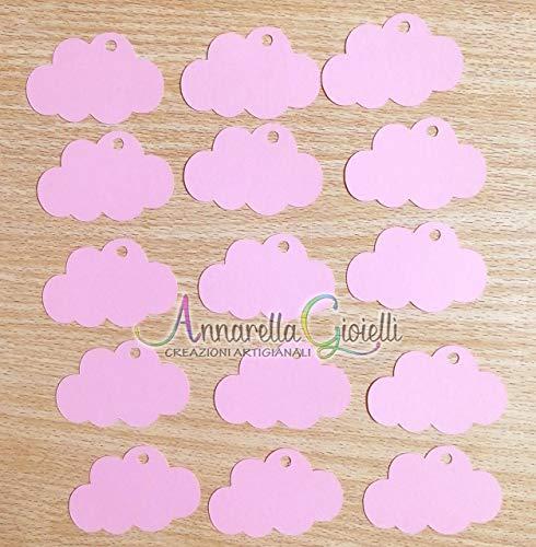 50 pezzi cartellini bimba Nuvola per Battesimo, Prima Comunione, Cresima, 30x46 millimetri, carte regalo, tag fai da te, chiesa, etichetta, confetti, bomboniere, nuvola rosa
