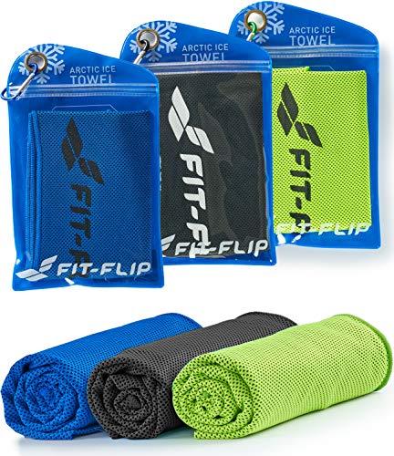 Fit-Flip Kühltuch 3er Set 100x30cm, Mikrofaser Sporthandtuch kühlend, Kühltuch, Cooling Towel, Mikrofaser Handtuch – Farbe: grün/dunkel blau/schwarz, Größe: 100x30cm
