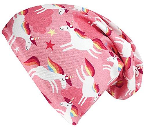 Wollhuhn ÖKO Long-Beanie, Wende-Mütze, ganzjährig, Happy Unicorn pink/rosa, innen Uni grau, für Mädchen (aus Öko-Stoffen, Bio), 20180233, Gr S: KU 48/50 (ca 1-3 Jahre)