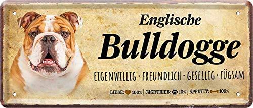 N / A Englische Bulldogge Hund Steckbrief Dog 28 x 12 cm Deko Spruch Blechschild Blech 1371