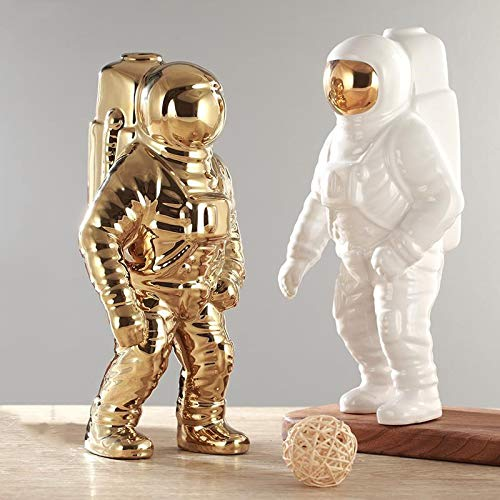 LEYAR Estatua Adornos Decorativas del hogarEscultura de Hombre Espacial de Oro Astronauta Ornamento de cosmonauta de cerámica Modelo Jardín Estatua Decoraciones para el hogar