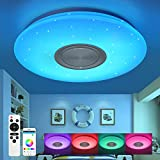 Kinderzimmer Deckenleuchte mit Bluetooth Lautsprecher Fernbedienung und APP-Steuerung Led 24W RGB Farbwechsel, Sternenhimmel, dimmbar, Nachtlichtmodus