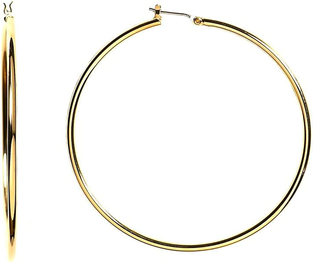 14k REAL Yellow or White Gold 1.5MM Thickness Classic Polished Round Tube Hoop Earrings with Snap Post Closure For Women in Many Sizes and Gauges