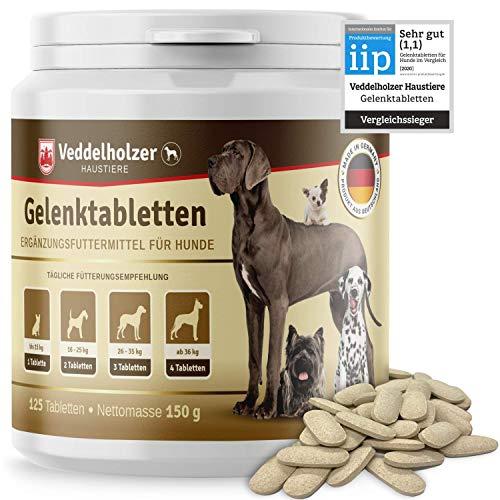 Veddelholzer VERGLEICHSSIEGER Hunde Gelenktabletten | Maximale Wirkstoff-Dosis mit Grünlippmuschel MSM & Teufelskralle Glucosamin & Kollagen 125 Kapseln