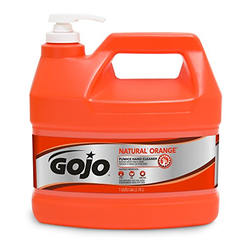 Gojo Natural Orange Pumice Industrial Hand Cleaner, 1 Gallon Quick Acting Lotion Hand Cleaner with Pumice Pump Bottle – 0955-04