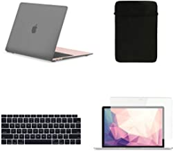 TOP CASE MacBook Air 13 Inch Case A1932 with Retina Display fits Touch ID 2019 2018 Release, 4 in 1 Essential Bundle Rubberized Hard Case, Keyboard Cover, Sleeve, Screen Protector - Gray