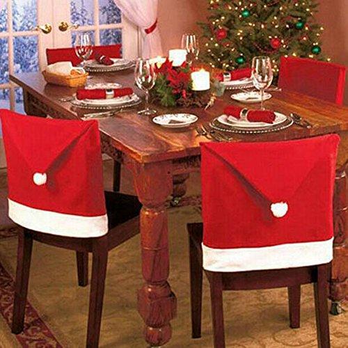 kuaetily Weihnachten Dining Stuhlhusse Weihnachtsdeko Nikolausmütze Stuhlabdeckung Stuhlbezug für Weihnachtstisch Dekoration (8pcs)