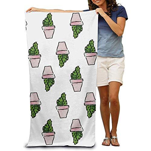 utong Toallas de Playa 100% algodón 80x130cm Toalla de Secado rápido para Nadadores Cactus Beach Blanket