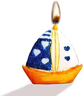 Decor Hut Sailboat Candle 2.5 inch, Set of 2 in Gift Box, Stands on its own, Nautical Party Favor and Design