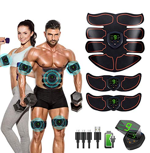Nowten Abs Stimulator Ab Stimulator Recharge Muscle Toner Trainer Ultimate Muscle Stimulator for Men Women Abdominal Work Out Ads Power Fitness Abs Muscle Training Gear ABS Workout Equipment Portable