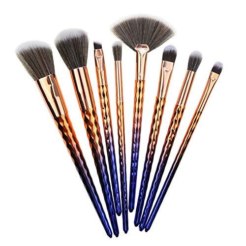 Lot de 8 pinceaux de maquillage, dégradé, manche en plastique, pinceau à poudre, pinceau à blush, pinceau à fond de teint, pinceau à paupières, pinceau anti-cernes., bleu marine