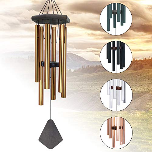 ASTARIN Wind Chimes Outdoor Large Deep Tone, Memorial Personalized Wind Chimes with 6 Long Metal Tubes, Sympathy Wind Chime with Sound, Perfect for Garden, Patio and Yard(30 Inches Bronze)