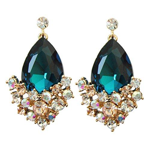 Navachi 18k Gold Plated Crystal Blue Pear-shaped Zirconia Az2561d Drop Dangle Earrings