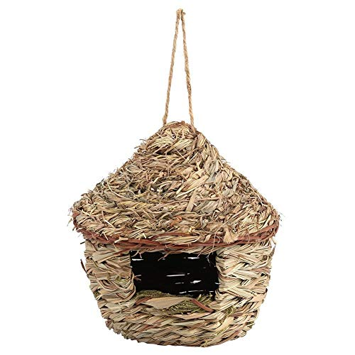 Fdit Handwoven Straw Bird Nest Cage House Hatching Breeding Cave in 3 Size for Parrot, Canary or Cockatiel or Other Birds(S)