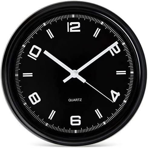 Bernhard Products Black Wall Clock Silent Non Ticking 11 Inch Battery Operated Quartz Sporty product image