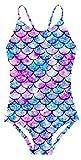AIDEAONE Girls Mermaid Swimsuit 3D Mermaid Printed One-Piece Swim Suits Slim Fit Bathing Suits 10-12 Years