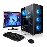 Megaport Super Méga Pack Cyber - Unité Centrale PC Gamer Complet AMD Ryzen 5 2600 6x3.40 GHz • Ecran LED 24' • Clavier et Souris Gamer • GeForce GTX 1050Ti • 16Go • 1To • Windows 10 Home • PC Gaming