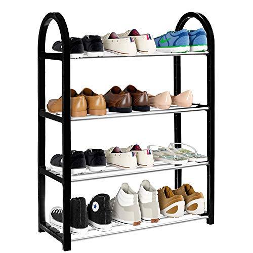 SPRINGOS Zapatero zapatero con 4 niveles, zapatero, estante para zapatos, estantería, cajas de vino, zapatero, sistema de almacenamiento de metal, para la habitación (negro, 64 x 50 x 19,5 cm)