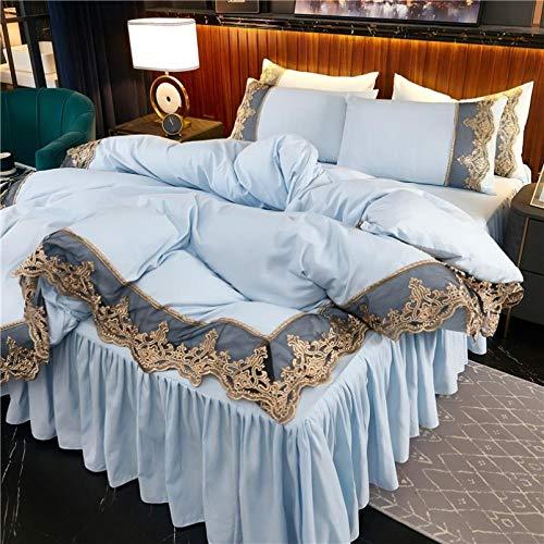 Bedding-LZ -Falda de lecho de Encaje Set de Cuatro Conjuntos de Seda Europea de Gama Alta Princesa de Viento dormitorios Antideslizantes para Hornear-Norte_Cama de 2.0 Metros de Cuatro Piezas.