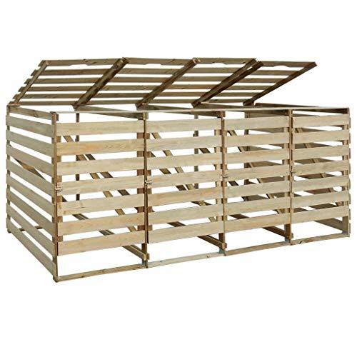 mewmewcat Mülltonnenbox für Vier Tonnen Aufbewahrungsbox Holz Garten Mülltonnen Verkleidung Imprägniertes Kiefernholz 240 L 285 x 92 x 120 cm
