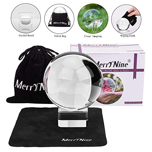 Photograph Crystal Ball with Stand and Pouch K9 Crystal Suncatchers Ball with Microfiber Pouch Decorative and Photography Accessory 80mm/315quot Set K9 Clear