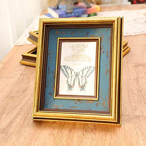 Xqsb Marco Fotos Decoracion Marcos de Foto Old 10.2 × 15.2cm Hanging Pendulum Gold Blue