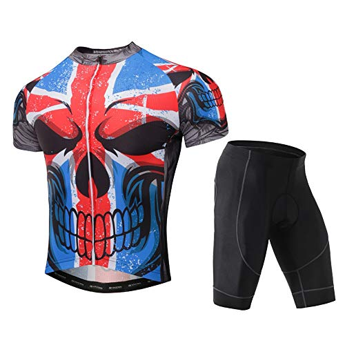 Unkoo Top Best Mens Cycling Jerseys Shorts Men Bike Suits 3D Gel Padded Bib Short Comfortable Full Zip Moisture Wicking with Pockets Maillot Fitness Outdoor Thriller Skeleton (Color : A, Size : M)