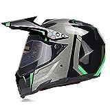 Fenengcheng - Casco de moto con máscara, forro extraíble, casco modular integral, cascos de moto, hombre y mujer adulto para escúter Chopper, color verde, tamaño extra-large