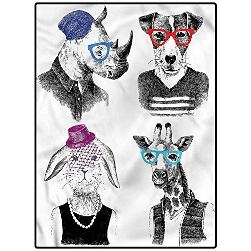 Animal Soft Indoor Modern Area Rugs Hipster Animal Characters Floor Carpets Playing Mat for Kids Baby Girls 4 x 6 Feet
