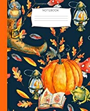 Notebook: Pumpkin Notebook with Decorative Pumpkin Cover| Fall Leaves, Owls, and Bright Fall Colors|7.5 x 9.25|110 Pages|Wide-Ruled| Perfect Gift for ... Ideas, School, To-Do-List,Creative Ideas