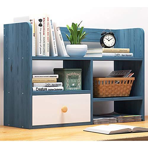 Estantería de Oficina Multicapa de madera Estantería de escritorio Contador Librería con estantes cajones de escritorio estante de almacenamiento organizador de libros, revistas, DVDs y Más para Salón